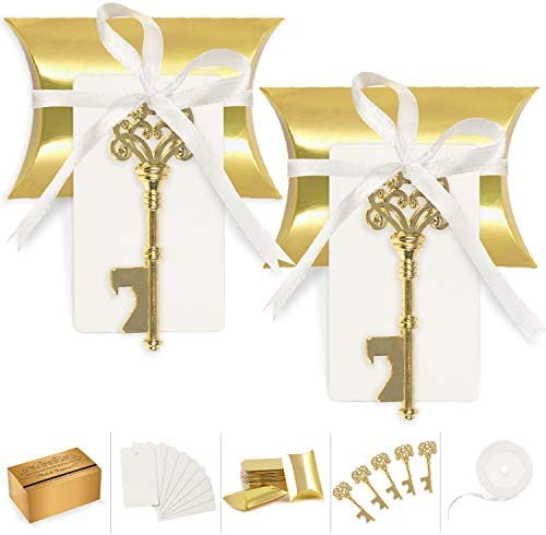 Wedding Favors for Guests Party Favor Vintage Skeleton Key Bottle Opener with Escort Card Tag Pillow Candy Box and Satin Ribbon 50 Pcs Gold