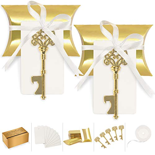 - Wedding Favors for Guests Party Favor Vintage Skeleton Key Bottle Opener with Escort Card Tag Pillow Candy Box and Satin Ribbon 50 Pcs (Gold)