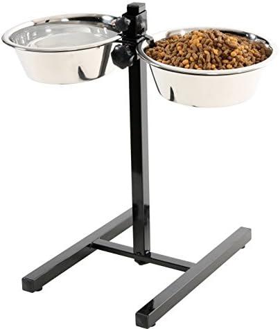 SAINT BERNARD Verstellbare Halterung mit 2 Schalen Edelstahl für Hunde 2,75 l