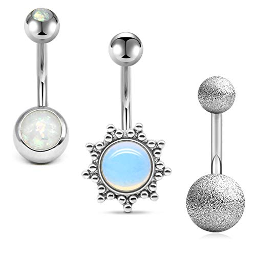 JFORYOU 3Pcs Belly Button Rings Stainless Steel 14G Sun Shaped with Opal Matte BallNavel Rings Barbells Piercing Women Girls Body Piercing Silver - Navel Shaped Ring