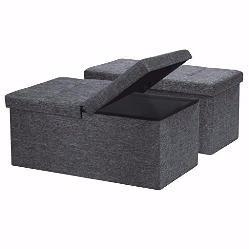 Otto Ben 2pc Set Folding Toy Box Chest with SMART LIFT Top, Linen Fabric Ottomans Bench Foot Rest for Bedroom, Dark Grey