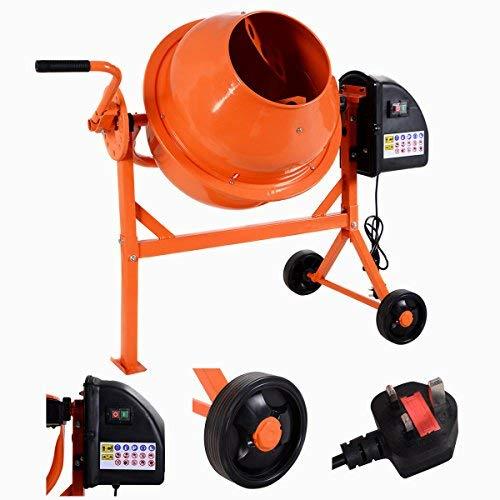 COSTWAY 63L Concrete Mixer, 220W Electric Drum Portable ...