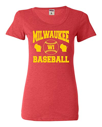 (X-Large Light Red Womens Milwaukee Baseball Tri-Blend T-Shirt )