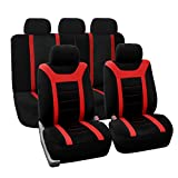 FH Group Universal Fit Full Set Sports Fabric Car Seat Cover with Airbag & Split Ready, (Red/Black) (FH-FB070115, Fit Most Car, Truck, Suv, or Van) FH Group Seat Covers