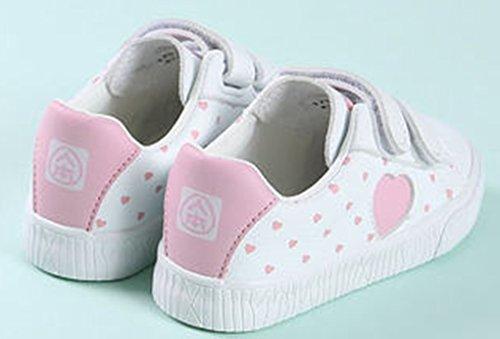 VECJUNIA Mädchen Freizeit Runde Zehe Flach mit Klettverschluss Herz Reise Sneaker Turnschuh (Kleine Kinder/Große Kinder) Weiß1