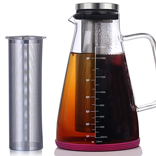 Large Cold Brew Iced Coffee & Tea Maker - 50 Oz/1.5L - Protective Non-slip Silicon Base - Glass Carafe and Water Pitcher with Removable Filter - Coffee and Tea Brew Recipe Includ