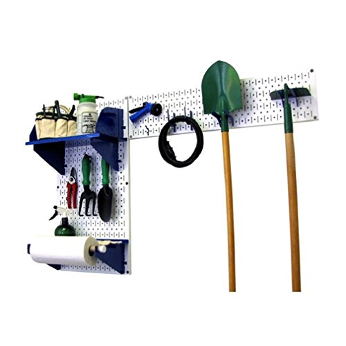 Wall Control 30-GRD-200 WBU Pegboard Garden Supplies Storage and Organization Garden Tool Organizer Kit with White Pegboard and Blue Accessories by Wall Control