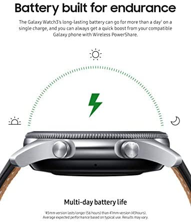 Samsung Galaxy Watch 3 (45mm, GPS, Bluetooth) Smart Watch with Advanced Health Monitoring, Fitness Tracking, and Long lasting Battery - Mystic Silver (US Version) 4