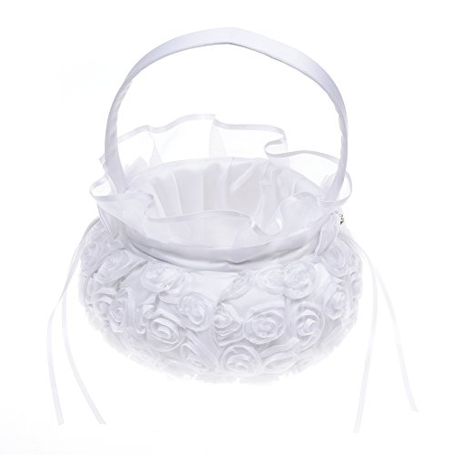 Kloud City 5 Inch White Embroidered Petal Wedding Flower Girl Basket With Satin Rose Bowknot Ceremony Party Decoration ()