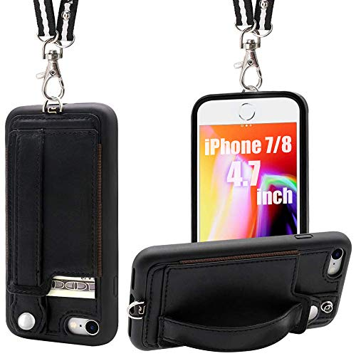 TOOVREN iPhone 7/8 Wallet Case Lanyard Neck Strap iPhone 7/8 TPU Protective Purse Case Cover with Kickstand Leather PU Card Holder Adjustable Detachable Necklace for Anti-Lost and Outdoors Black
