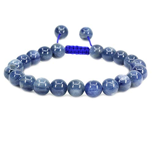 (Natural A Grade Kyanite Gemstone 8mm Round Beads Adjustable Braided Macrame Tassels Chakra Reiki Bracelets 7-9 inch Unisex)