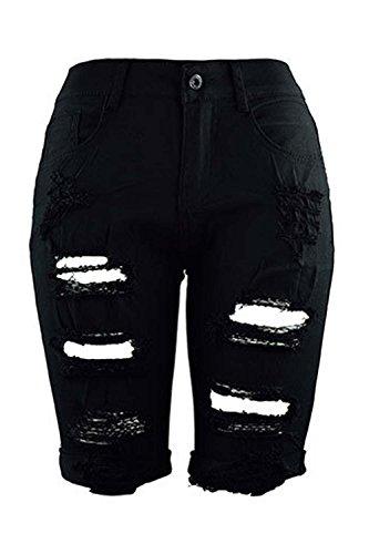 De Apretado Media Shorts 's De negro Casual Cintura Arrancó Alta Women Longitud 6nFtvHq0wq