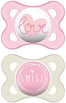 MAM Pacifiers, Baby Pacifier 0-6 Months, Best Pacifier for Breastfed Babies, Attitude Design Collection, Girl, 2-Count