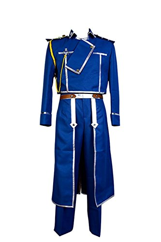 Ya-cos Fullmetal Alchemist Colonel Roy Mustang Military Uniform Cosplay Costume,Blue,XX-Large