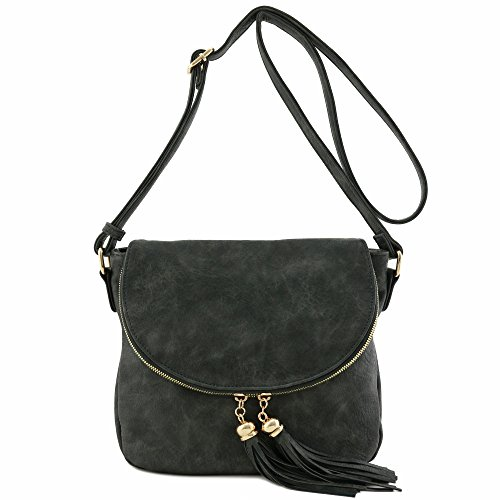 - Tassel Accent Crossbody Bag with Flap Top (Charcoal Grey)