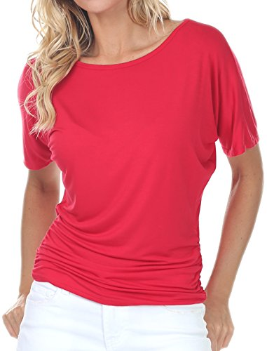 coul J WT210 Women's Dolman Style Short Sleeve Round Boat Neck Side Shirring Drape Oversized Loose Fit Tunic Top - Red/Size: X-Large -