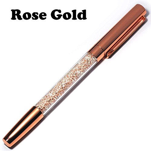 Freedi Creative Crystal Diamond Gel Pen Advertising Signing Pen Gift Metallic Ballpoint Pens with Colorful Bling Bling Slim Rhinestones, 1 Piece (Rose gold)