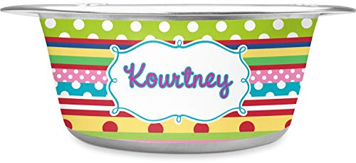 RNK Shops Ribbons Stainless Steel Pet Bowl - Large (Personalized)