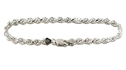 (Solid 925 Sterling Silver Diamond Cut Rope Bracelet / Anklet for Men and Women 2.0mm to 6.0mm, 7