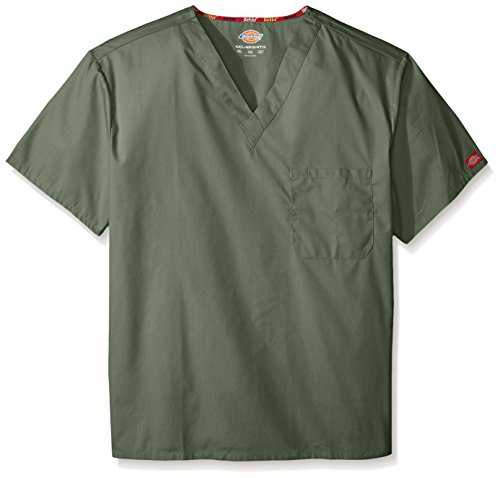 - Dickies Men's Big and Tall Signature V-Neck Scrubs Shirt, Olive, XXXXX-Large
