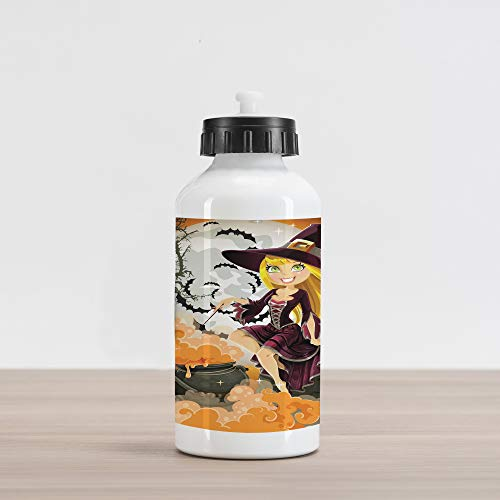 Lunarable Witch Aluminum Water Bottle, Young Cartoon Girl