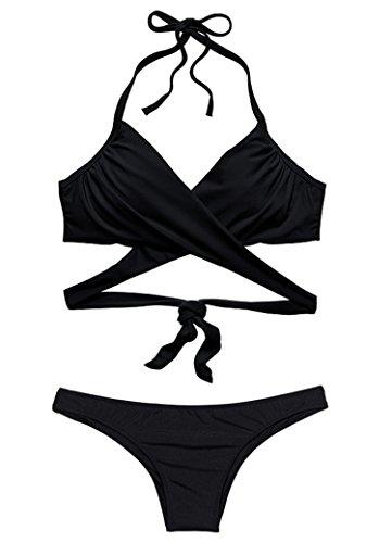 Lovewhitewolf Women's Wrap Halter Cross Swim Bikini Set (M, Black)