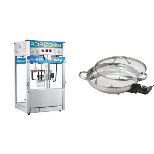 Great Northern Popcorn 6210 POPHEAVEN Commercial Quality Style Popcorn Popper Machine with 12-Ounce Kettle and Aroma Housewares AFP-1600S Gourmet Series Stainless Steel Electric Skillet Bundle (Popcorn Skillet compare prices)