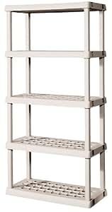 Sterilite 01558501 5-Shelf Unit with Light Platinum Shelves and Legs