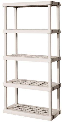 Sterilite 01558501 5-Shelf Unit with Light Platinum Shelves and Legs by STERILITE