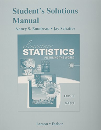 Student's Solutions Manual for Elementary Statistics: Picturing the World