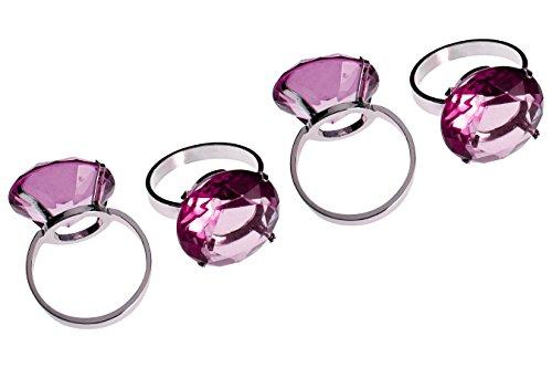 (Premier Housewares Diamante Napkin Rings - Set Of 4, Purple)