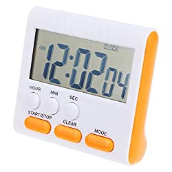 Fiesta Multifunctional Electric LCD Digital Kitchen Timer Alarm Clock Household Cooking Count Up Down Clock Kitchen Tools: Orange