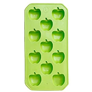 2Pcs Safe And Soft Silicon Ice Cube Tray Apple Shape, Green
