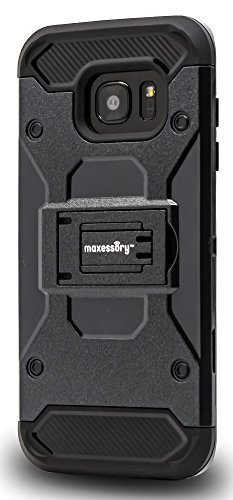 Maxessory Pathfinder Heavy-Duty Rugged Protector Armor Cover w/Shock-Absorbing Durable Cushion Shell + Kickstand View-Mode Black Case Compatible with Galaxy S7 Edge