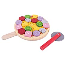 Bigjigs Toys BJ457 Wooden Cutting Pizza with Toppings & Cutter-Play Food and Role for Kids