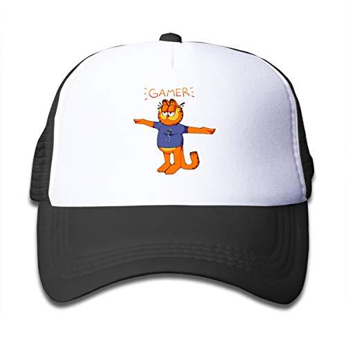 Huyuadu Kids Trucker Hat Gamer Garfield Crazy Frog T Pose Adjustable and Mesh Back Baseball Cap Black