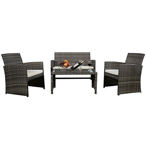 4 PC Rattan Patio Furniture Set Garden Lawn Sofa Cushioned Seat Mix Gray Wicker (Wicker Patio Furniture Big Lots)