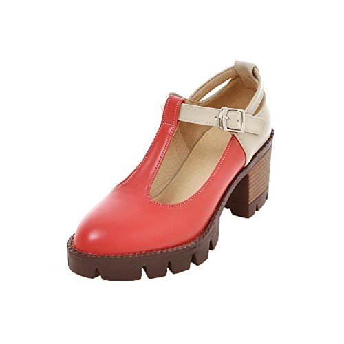 AllhqFashion Womens Kitten-Heels Assorted Color Buckle PU Closed-Toe Pumps-Shoes Red V8mqp4