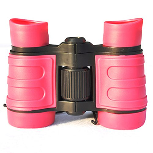VanFn Rubber 4x30 Adjustable Mini Lightweight Binoculars for Kids, Compact High Definition Binoculars For Childrens Outdoor Camping, Telescope Toy, Children Educational Gifts (Pink) by VanFn