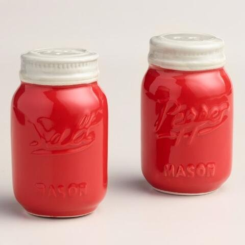 (Red Ceramic Mason Jar Salt and Pepper Shaker  - Great Kitchen Accessories | Retro Table Countertop and Kitchen Décor | Wrap for Holiday Gifts, Giveaways, and Souvenirs | 105 mL by World Market)