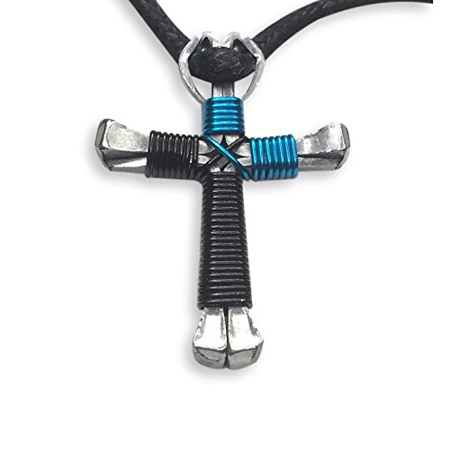 2-Tone Horseshoe Nail Cross Necklace