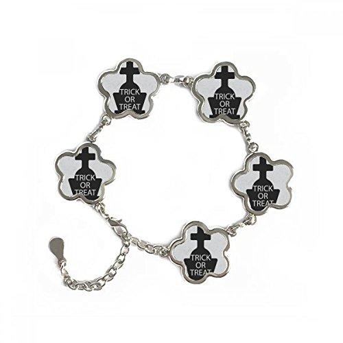 Halloween Cross Gravestone Flower Shape Metal Bracelet Chain Gifts Jewelry With Chain (Diy Halloween Grave Decorations)