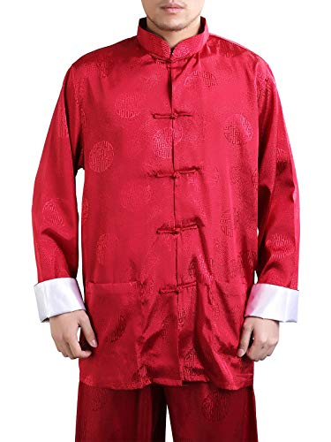 (Bitablue Men's Enter the Dragon Chinese Clothing Shirt with Free Matching Pants (X-Large, Red))