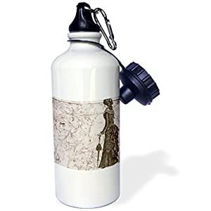 "3dRose wb_110252_1″Vintage Fashionable Lady Steampunk Art"" Sports Water Bottle, 21 oz, White"