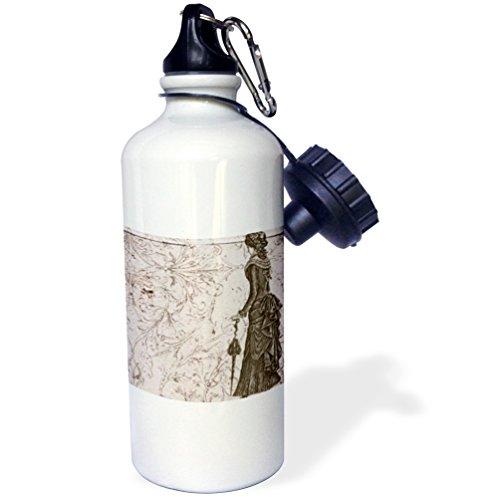 """3dRose wb_110252_1″Vintage Fashionable Lady Steampunk Art"""" Sports Water Bottle, 21 oz, White"""