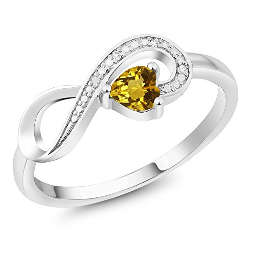 10K White Gold 0.22 Ct Heart Shape Yellow Citrine and Diamond Infinity Ring (Available in size 5, 6, 7, 8, 9)
