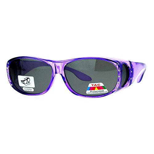 Over Glasses Rhinestone Sunglasses Oval Rectangular Purple (Over Rhinestone)