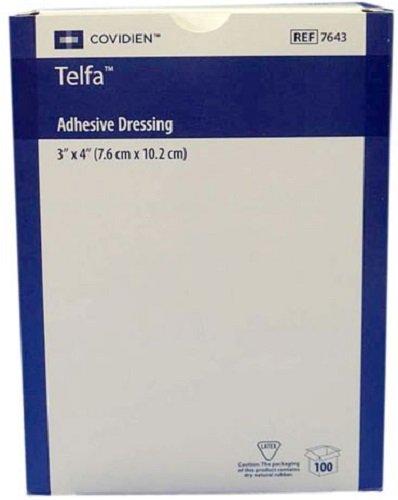 Covidien 7643 Sterile Adhesive Dressing , Box, 100, Pads, 3'' x 4''