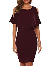 Women's Elegant Sleeveless Split Ruffles Keyhole Bodycon Pencil Dress For Cocktail Party