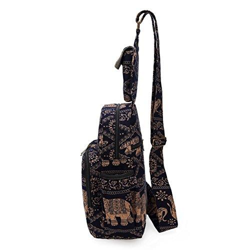 MIANZI Women Sling Bag Outdoor Sport Canvas Large capacity Crossbody Shoulder Cotton Fashion Backpack (Black) by MIANZI (Image #4)